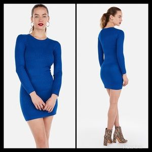Express Ribbed Blue Bodycon Dress NWT